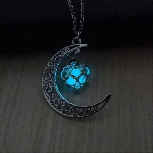 Collar Luminoso Luna Azul O Verd Regalo Unisex Novia Parejas