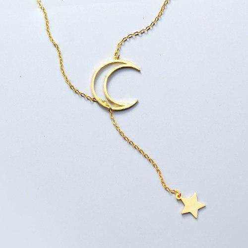 Collar Luna Con Estrella En Plata.925