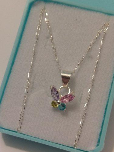 Collar Mariposa De Plata Original Con Cristal Swarovski