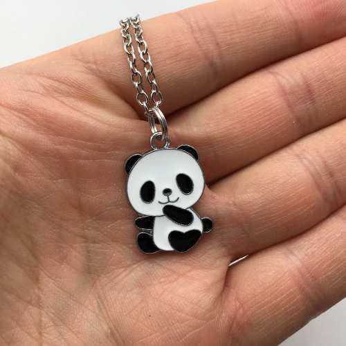 Collar Panda Dije Panda Oso Bambú Collar Oso Collar De Moda
