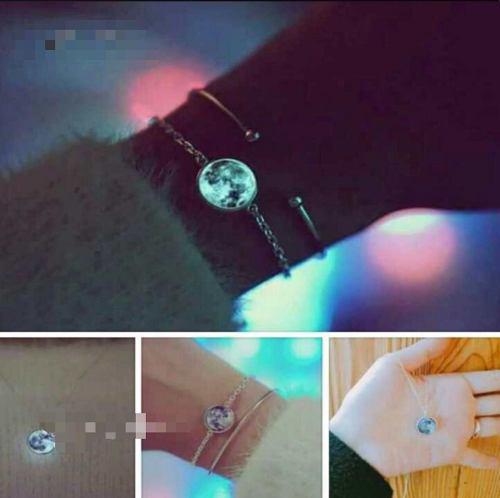 Collar Pulsera Luna Llena Brilla En Obscuridad Regalo Plata