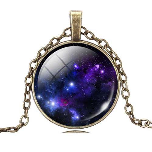 Collar Vintage Dije Galaxia Universo Estrellas Nebulosa