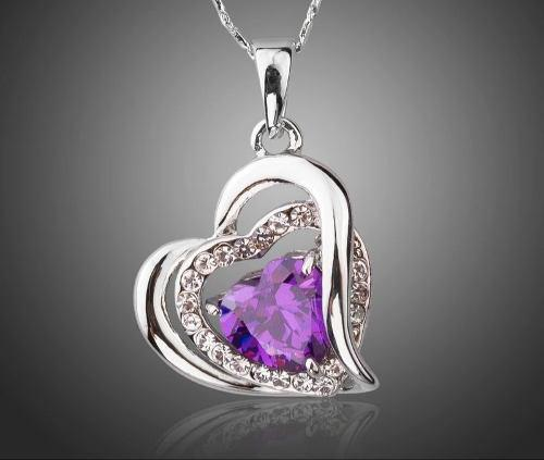 Collar Y Dije Corazón Morado Swarovski Elements Envío