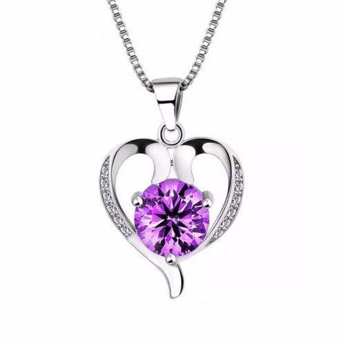 Collar Y Dije Plata.925 Corazón Zirconia Púrpura Mujer