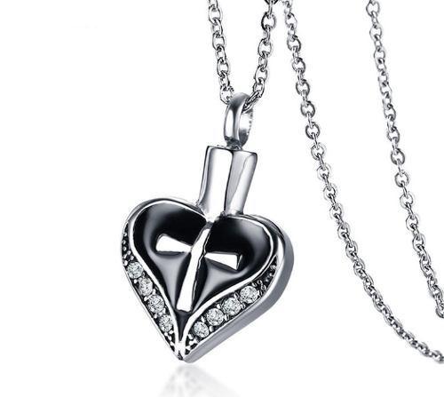 Corazón Cruz Recipiente Urna Cenizas Dije Collar Acero Inox