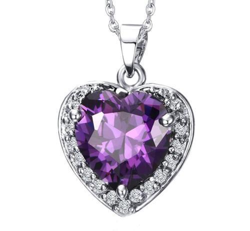 Corazón Zirconia Violeta Dije Collar Acero Inoxidable