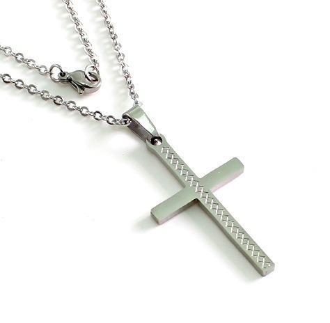 Crucifijo Con Greca De Acero Inoxidable Cruz Religion Cristo