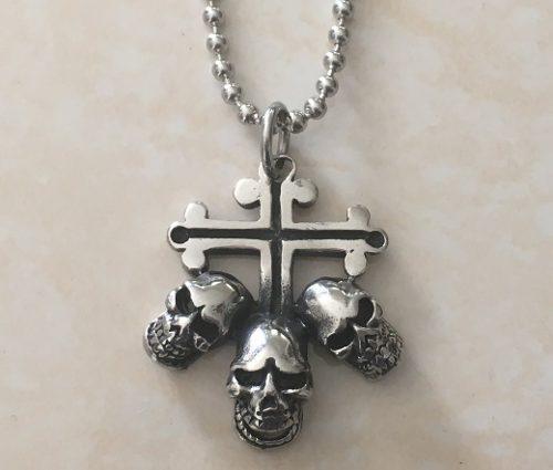 Cruz Skull Cráneos Calaveras Dije Cadena Acero Inox Rxp924