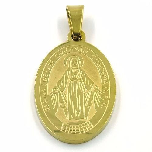Dije Acero Dorado Medalla Virgen Milagrosa