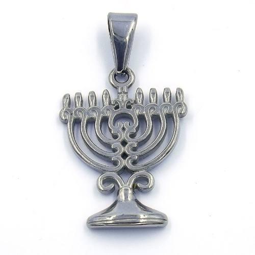 Dije Acero Inoxidable Plateado Menorah Original Judío