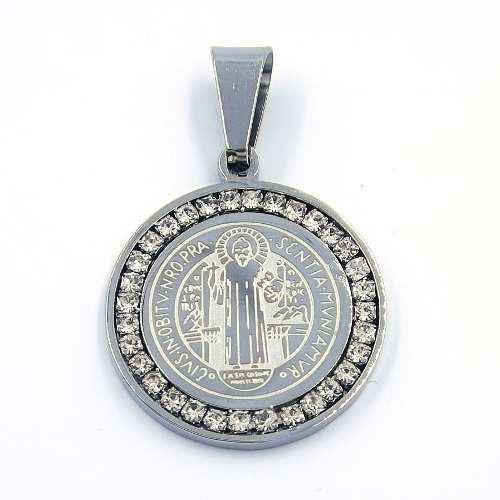 Dije Acero Medalla Lujo Plateada San Benito Zirconias Eg