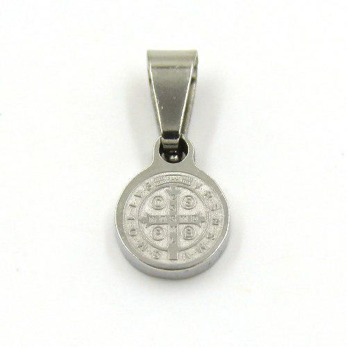 Dije Acero Plateado Micro Medalla De San Benito