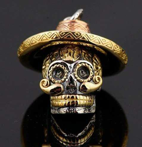 Dije Calavera Mexicana Plata 925 Bigotón Sombrero Muerte