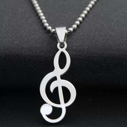 Dije Collar Nota Clave Sol Musical Acero Inoxidable + Envio