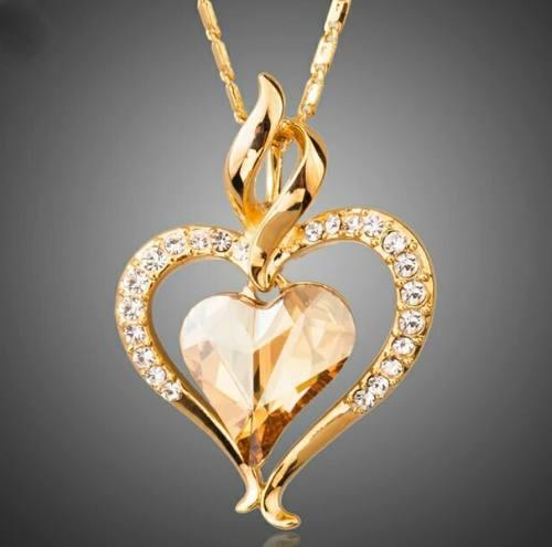Dije Corazón 0ro 18kt Cristal Swarovski Corte Diamante