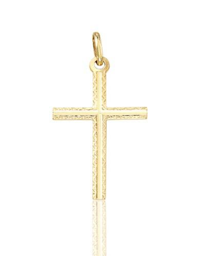 Dije Cruz Delgada Filo Diamantado Oro 14 K + Obsequio