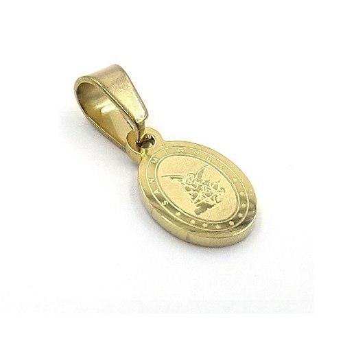 Dije De Acero Dorado Mini Medalla San Miguel Arcangel