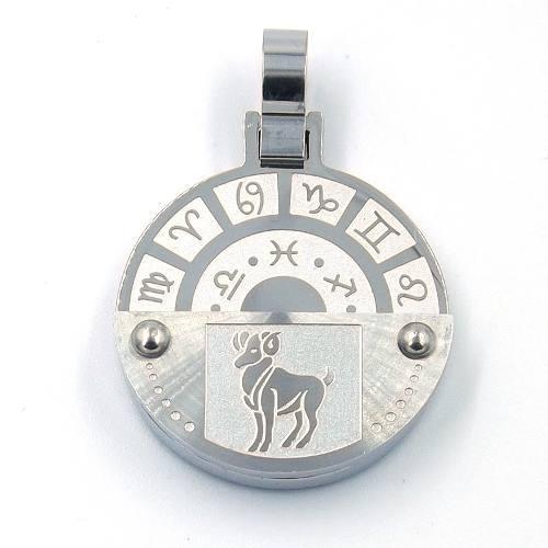 Dije De Acero Inoxidable Medalla Zodiaco Aries Eg