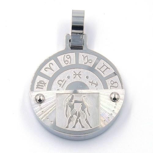 Dije De Acero Inoxidable Medalla Zodiaco Geminis