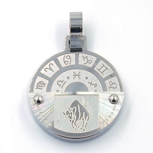 Dije De Acero Inoxidable Medalla Zodiaco Tauro