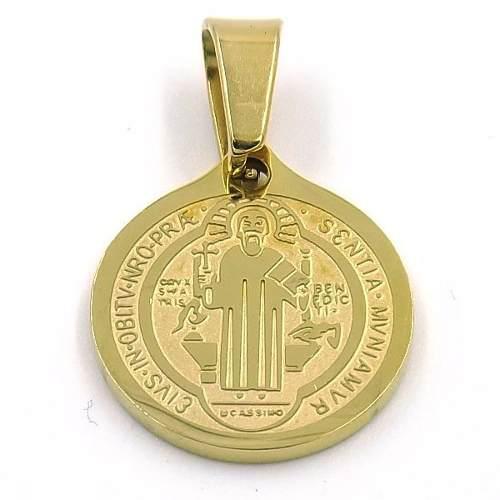Dije De Acero Medalla Dorado San Benito 15mm