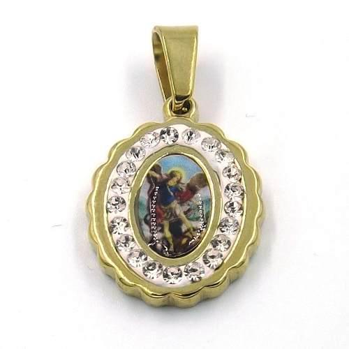 Dije De Acero Medalla Imagen San Miguel Arcángel Dorado Eg