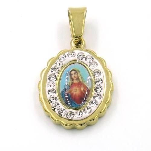 Dije De Acero Medalla Imagen Virgen Corazón De María