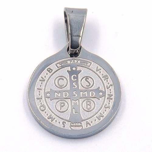 Dije De Acero Medalla Plateada San Benito 15mm