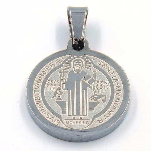 Dije De Acero Medalla Plateada San Benito 18mm Eg