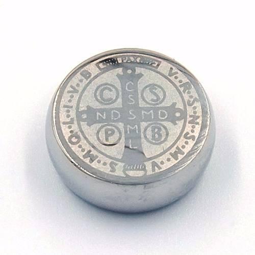 Dije De Acero Plata Medalla Solida San Benito