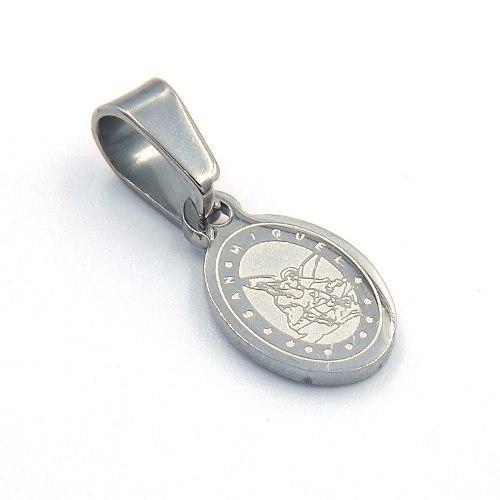 Dije De Acero Plateado Mini Medalla San Miguel Arcangel