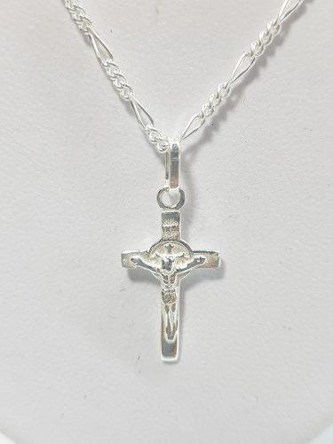 Dije De Cruz Con Cristo Plata Ley.925 Incluye Cadena.