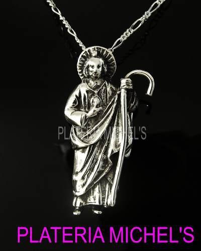 Dije De San Judas Tadeo Grande En Plata Ley 0.925