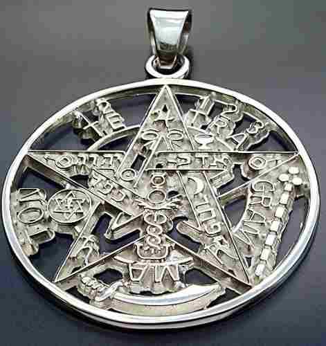 Dije De Tetragramaton Pentagrama En Plata Fina Ley.925 45mm