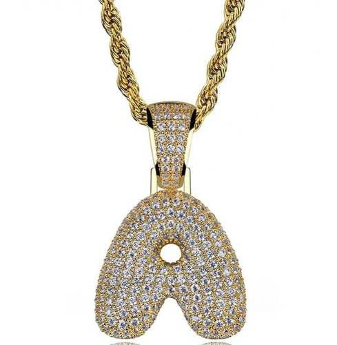 Dije Diamantado Letra A-z Cadena Torzal Oro Laminado Collar