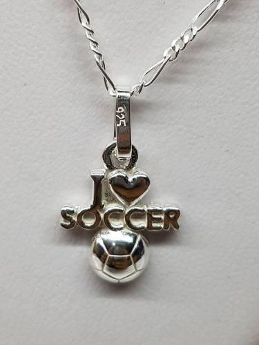 Dije I Love Soccer Plata Ley.925 Incluye Cadena Joyeria
