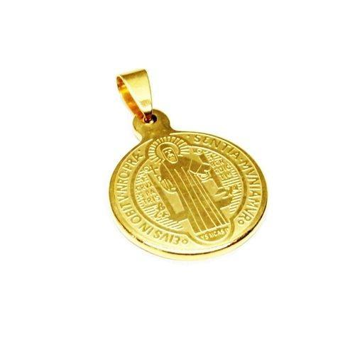 Dije Medalla Dorada Mediana De San Benito Acero Inoxidable