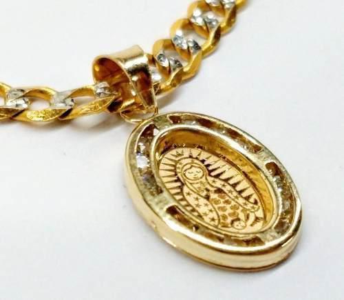 Dije Medalla En Oro Solido 10k Virgen De Guadalupe 2.3cm