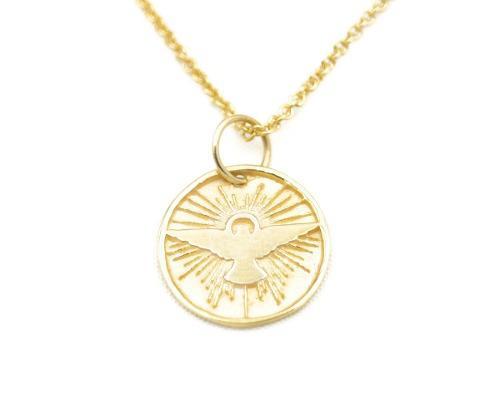 Dije, Medalla Espiritu Santo Dorada, Plata.925