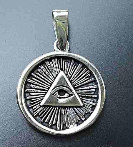 Dije Medalla Ojo Visor Ojo Que Todo Lo Ve En Plata Ley.925
