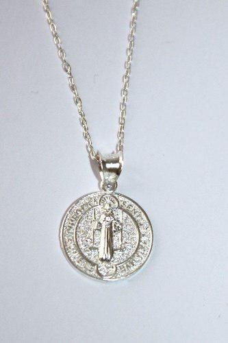 Dije Medalla San Benito 15mm Plata Ley 925 Con Cadena 45cm
