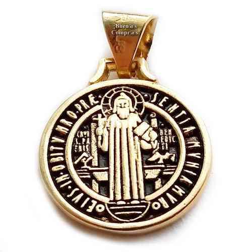 Dije San Benito Con Aleación De 7 Metales Y Chapeado Oro