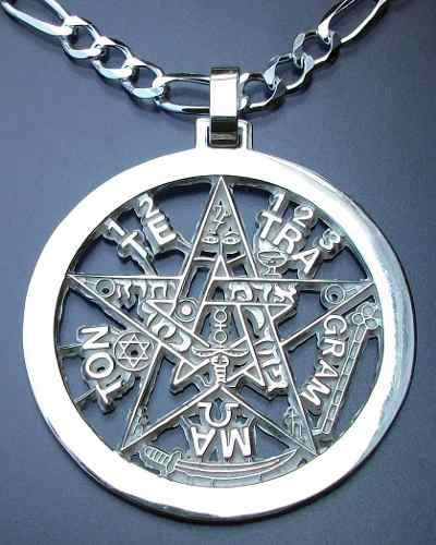 Dije Tetragramaton Pentagrama Con Cadena 70cm Plata.925