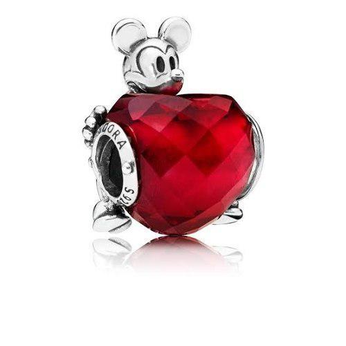 Disney Mickey Love Heart Charm Pandora + Estuche Caja