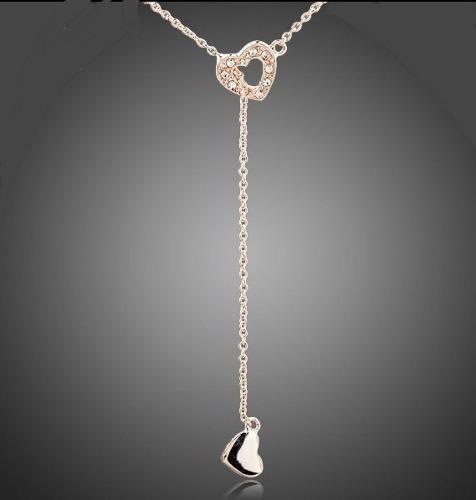 Fino Collar Corazón Oro Rosa 24kgp Swarovski Element Regalo