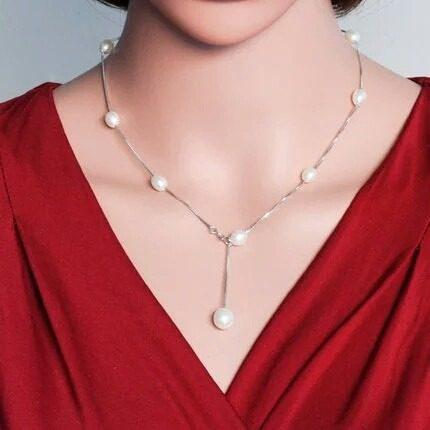 Fino Collar Perla Auténtica Aaa Y Plata, Aretes Regalo