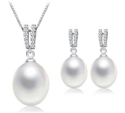 Fino Collar Y Aretes Perlas Naturales, Plata925 Y Zirconias