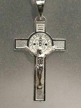 Genial Cruz De Cristo Y San Benito- Plata Real =envio Gratis