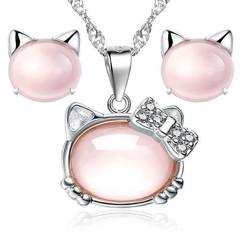 Hello Kitty Collar + Aretes Swarovski Element Y Opalo Envío