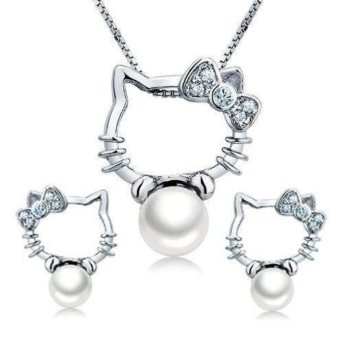 Hello Kitty Collar + Aretes Swarovski Element Y Perla